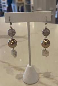 David jeffery Pearl/Rhinestone Earrings