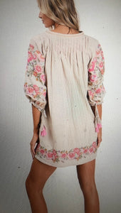 linen like embroidered tunic, back
