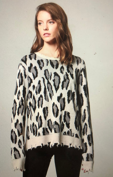 Distressed animal print sweater