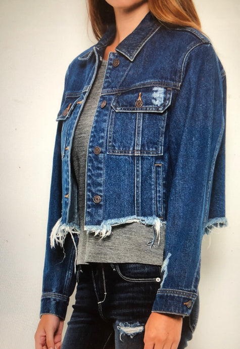 Cropped/frayed jean jacket front