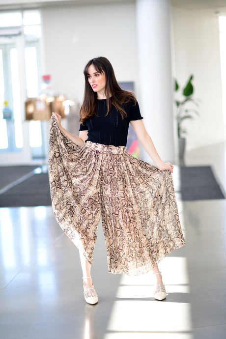 Animal print pleated wide leg pants