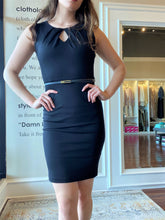Load image into Gallery viewer, Black body con dress with belt