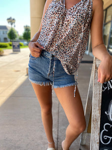 Mid Rise Fray Jean Shorts