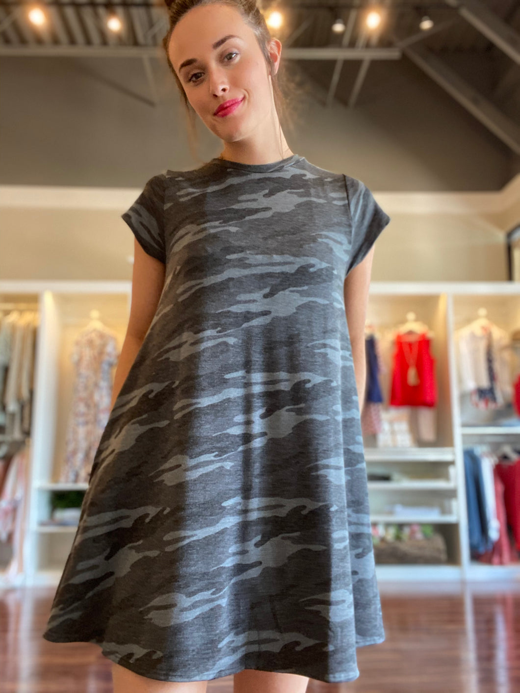 Grey Camo Dress with Cap Sleeve