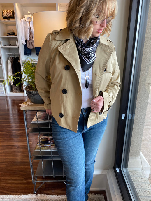 Beige Cropped Trench Coat