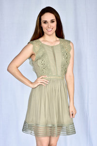 knee length, olive dress with lace