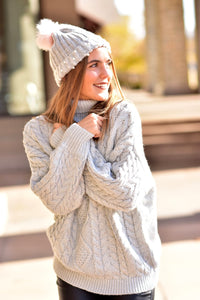 Silver Cable Knit Turtleneck