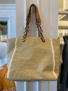 Sondra Roberts Straw bag w/Tortoise Shell Handle