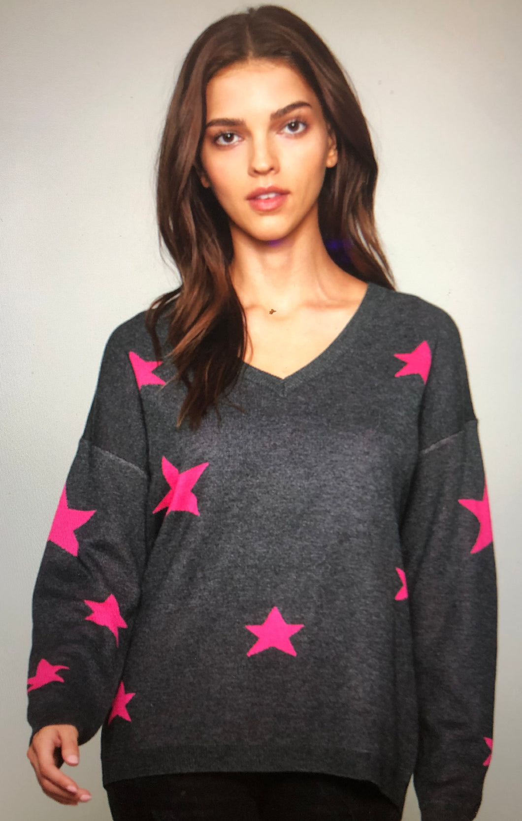 Star Pullover with V Neck