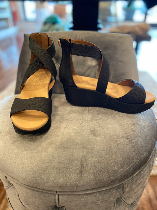 Fay Black Leopard Wedge