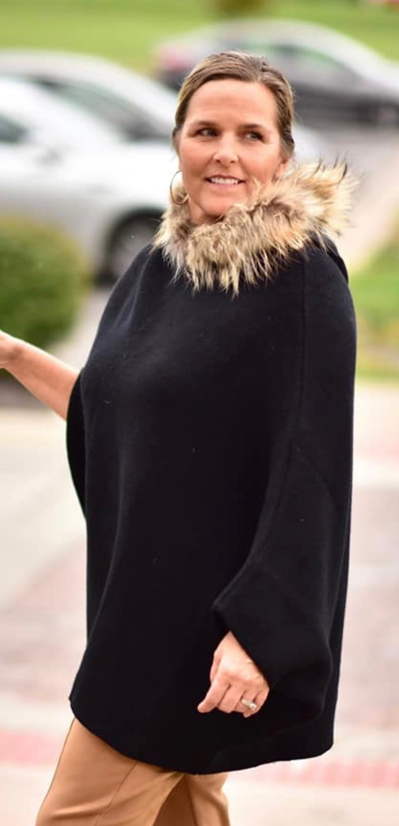 Luxe Fur Trim Hooded Poncho