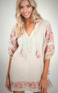 linen like embroidered tunic