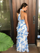 Load image into Gallery viewer, Haltered maxi dress with hi neck and ruffle detail, back