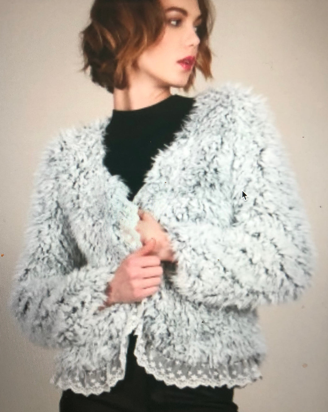 Fuzzy Lace Trimmed Jacket