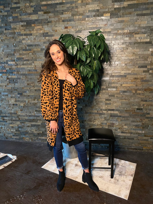 Leopard Cardi with balloon sleeves