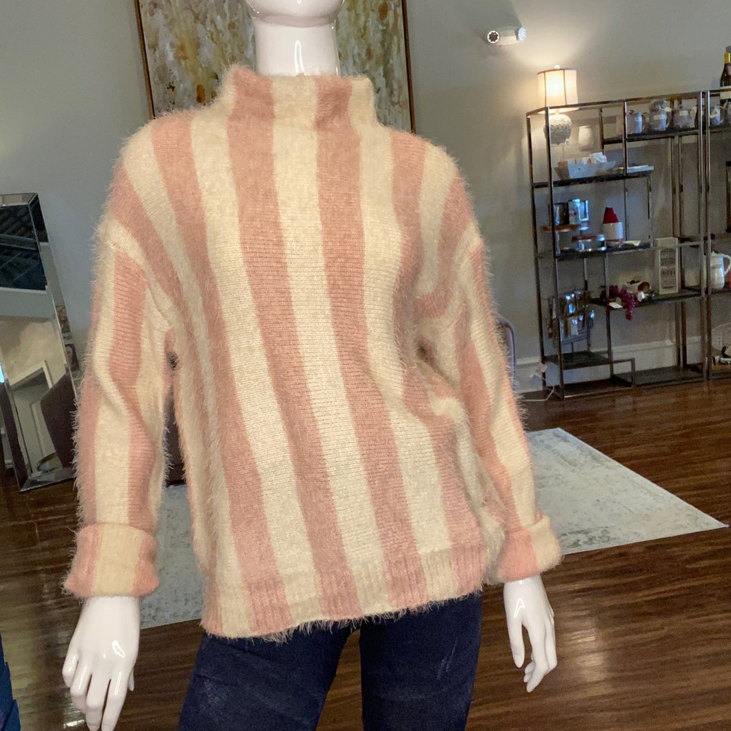 Pink/white striped sweater