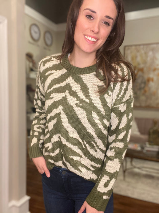Animal Print Mix Sweater