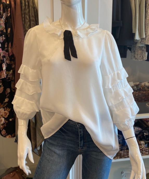 Sateen Off White Bubble Sleeve Top