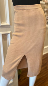 Taupe Knit Pencil Skirt