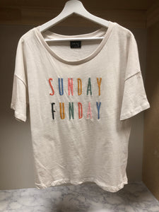 GRAPHIC EMBROIDERED TEE.  SUNDAY FUNDAY
