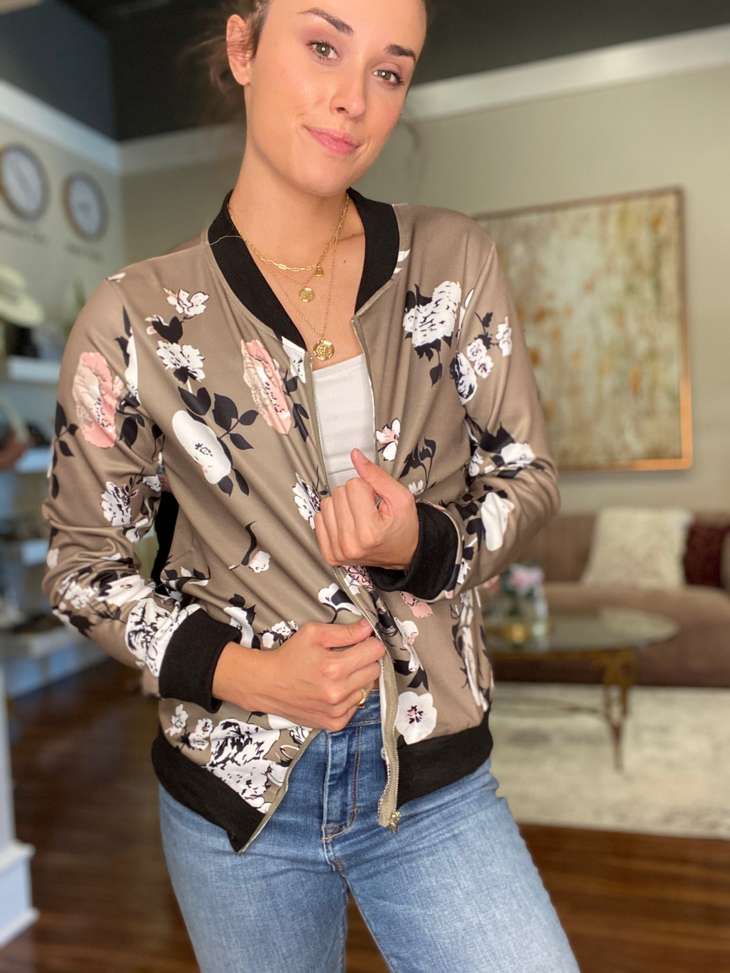 Grey Floral Bomber Jacket