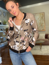 Load image into Gallery viewer, Grey Floral Bomber Jacket