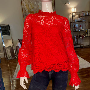 Dark red blouse with lace