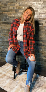 Red Flannel With Fringed Hem