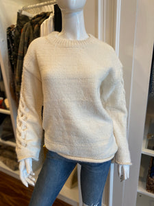 Chenille pullover with open braid sleeve