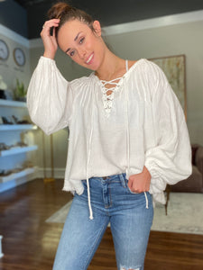 White Peasant Top