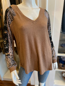 Leopard Print Mix Thermal Top