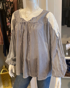 Stripe with lace trim blouse