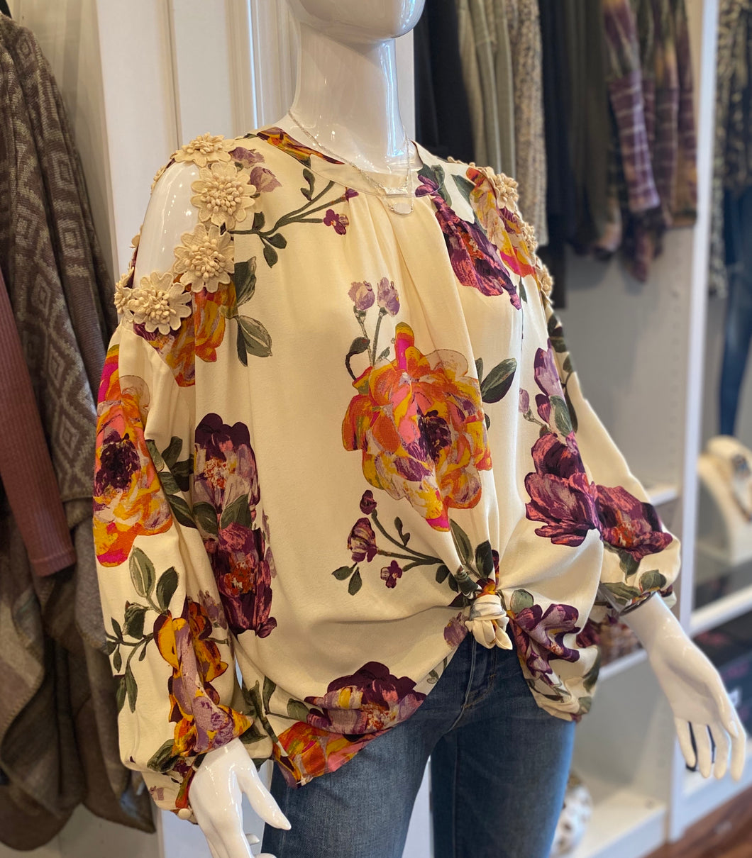 Floral Blouse with Cold Shoulder
