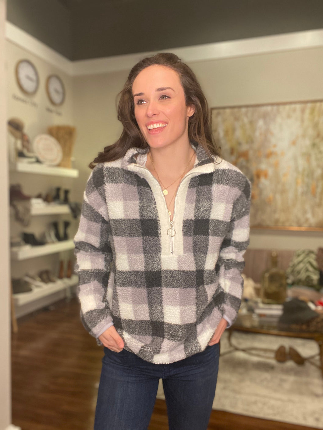 Grey Buffalo Check Sweatshirt