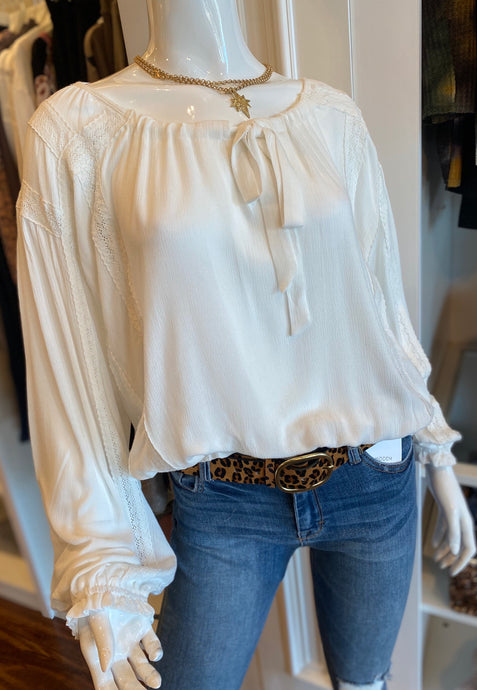 White Lace Trimmed Blouse