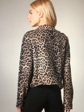 Load image into Gallery viewer, Leopard Print Faux Moto Jacket