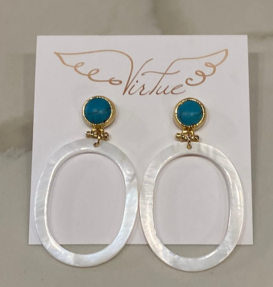 Virtue Shell/Turquoise Earrings