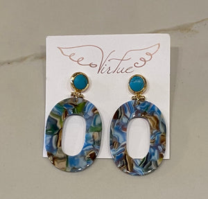 Virtue Turquoise Oval Earrings
