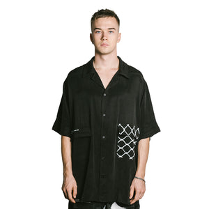 WIRED EYES Oversized Button Up - BLACK
