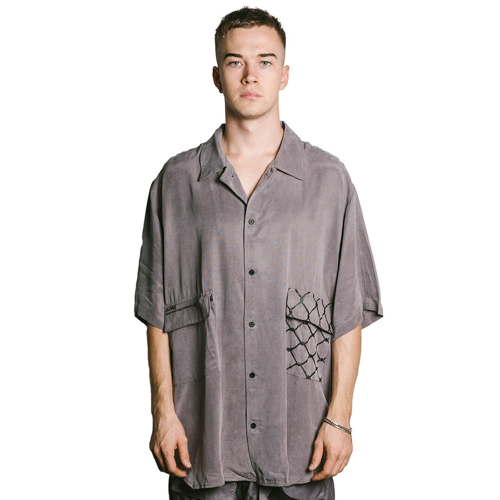 WIRED EYES Oversized Button Up - GUN METAL GREY