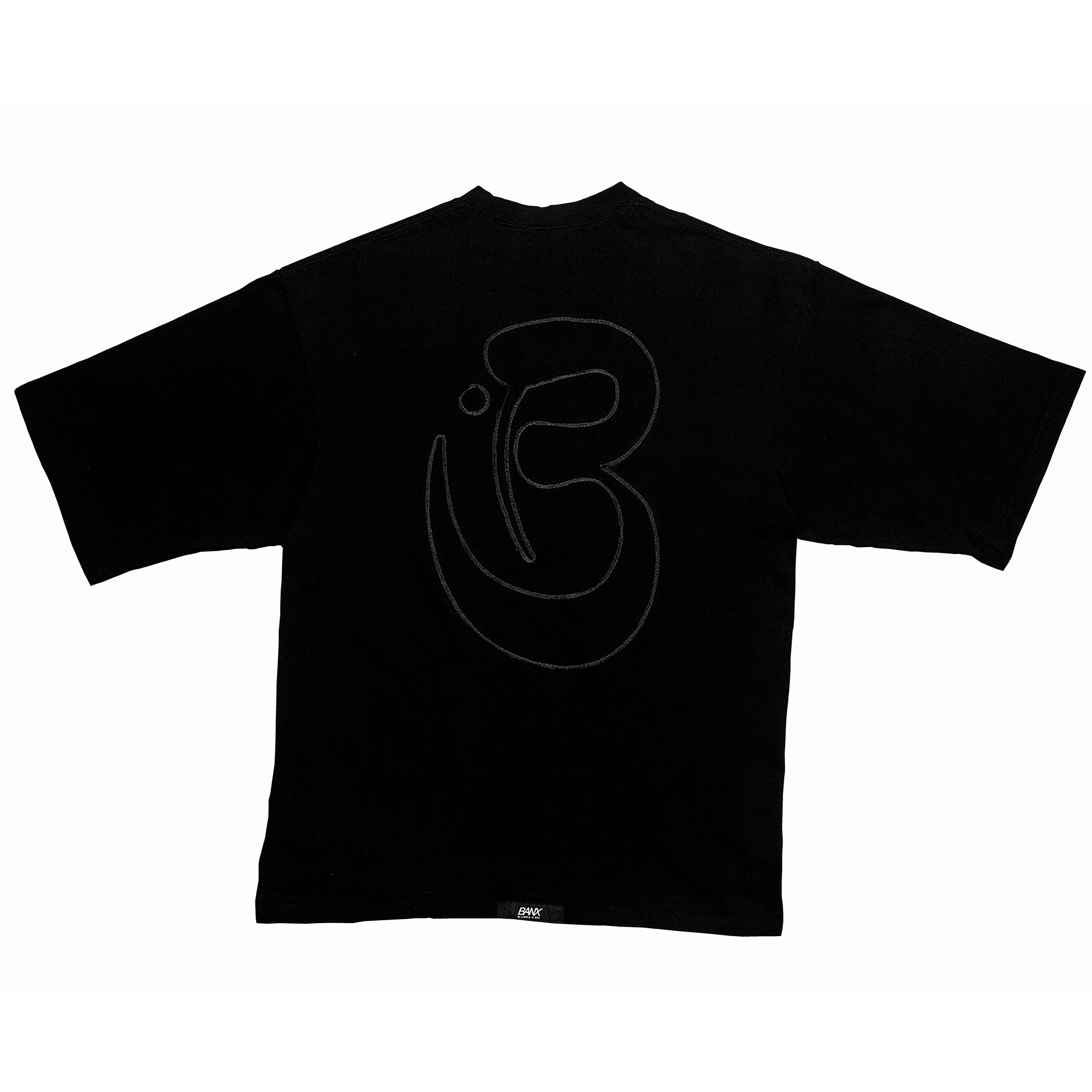 OVERSIZED B TEE - BLACK (BLACK TEXT)