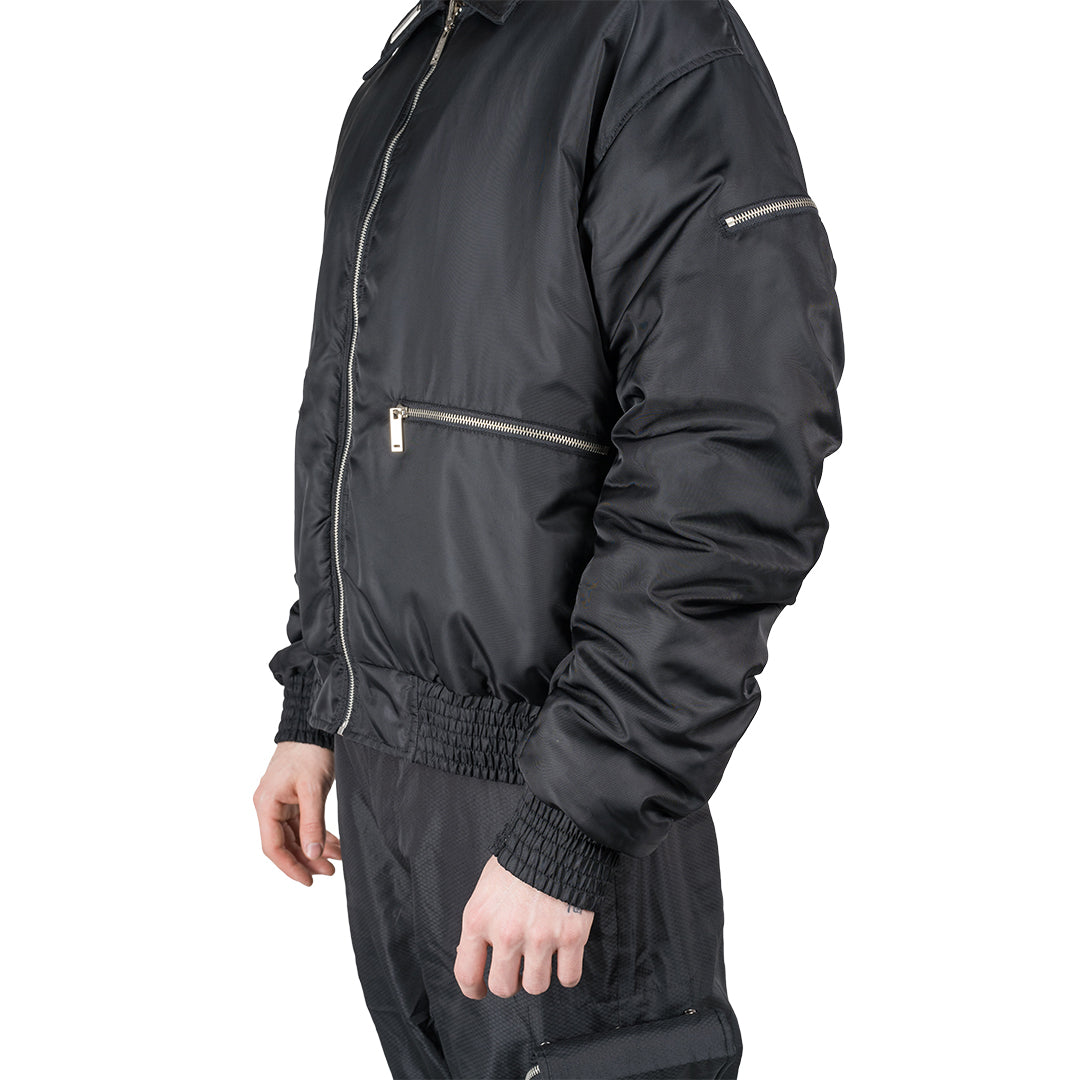 CHARGED ATF-1 Reversible Flight Jacket - Black (White Print)