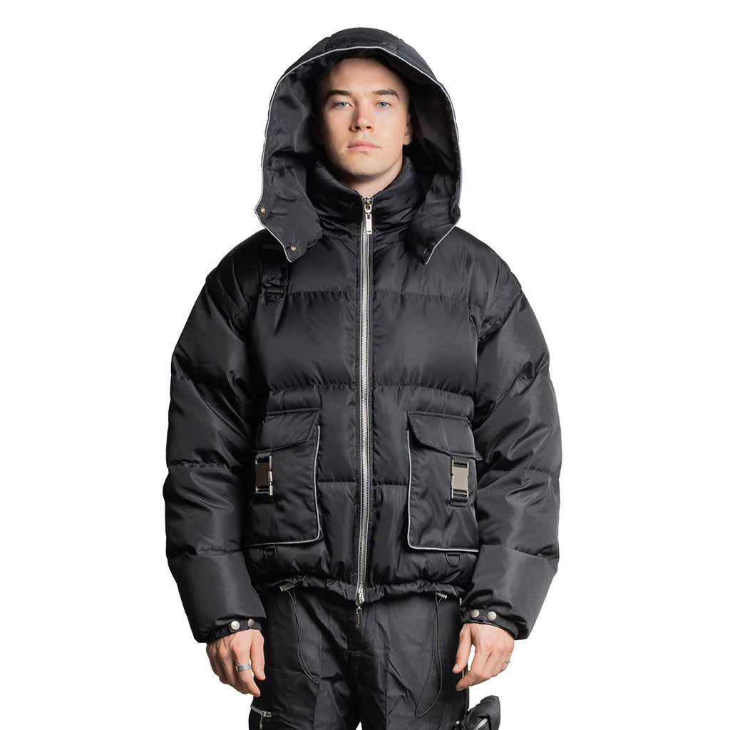 CHARGED ATPV-1 Puffer Jacket/Vest - Black (White Print)