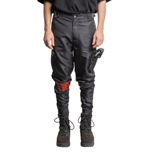 CHARGED Utility Cargo Pants V2.0 - Black (Red Print)