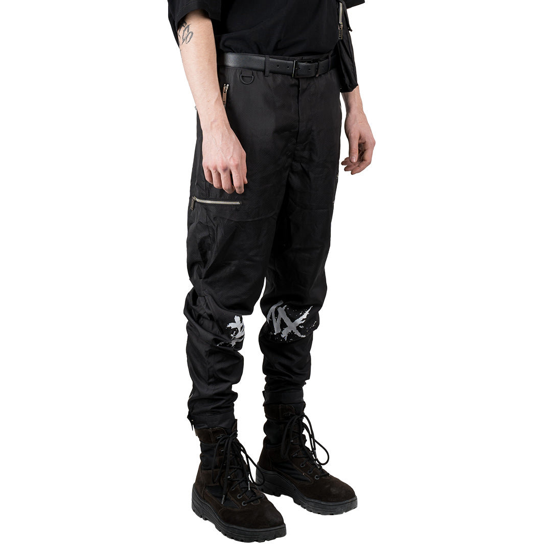 CHARGED Utility Cargo Pants V2.0 - Black (White Print)