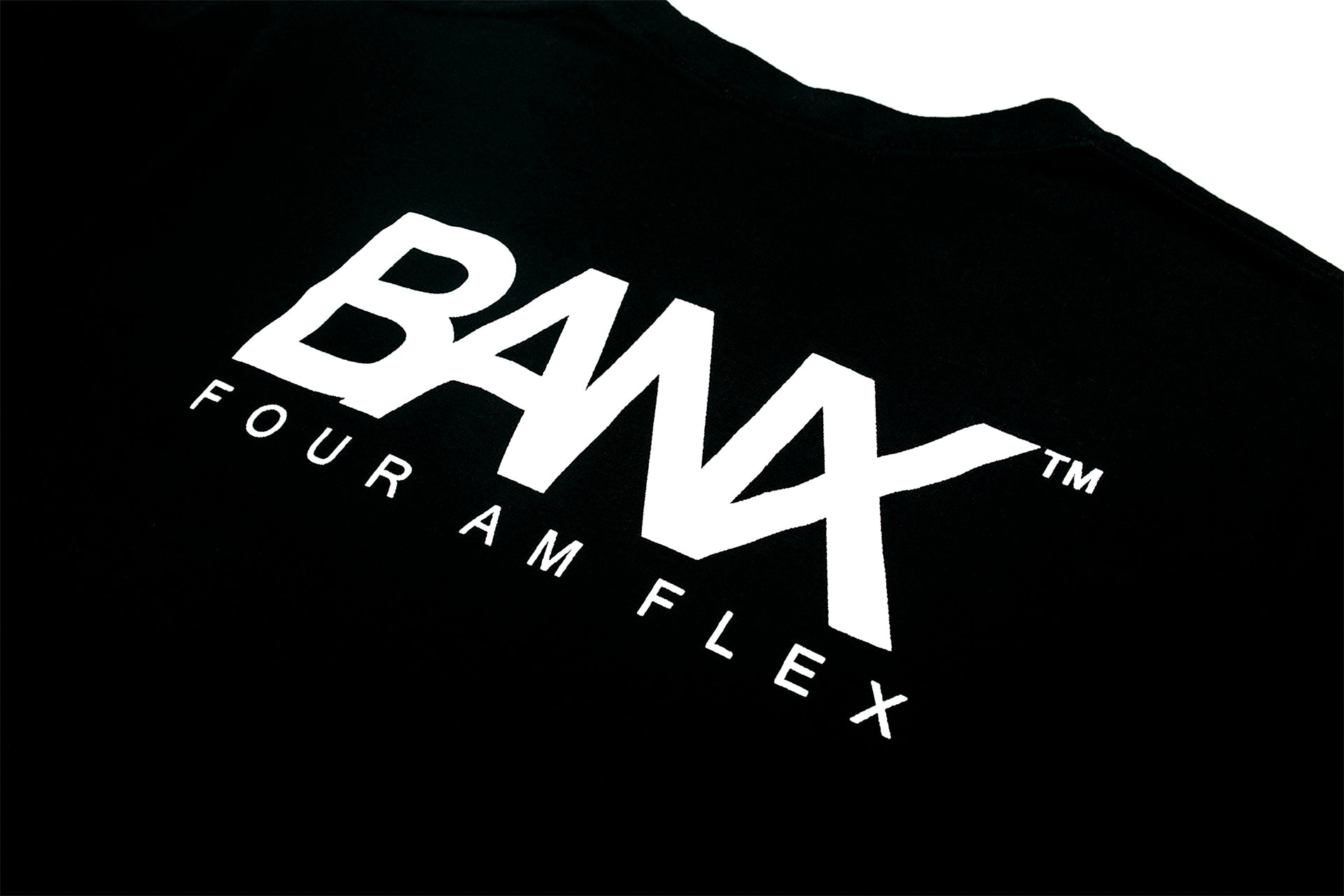 FOUR AM FLEX TEE - BLACK (WHITE TEXT)
