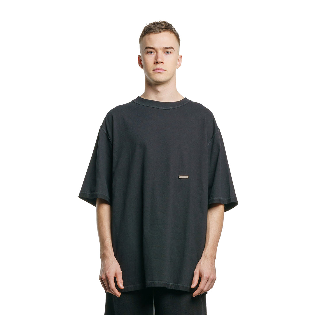 CHARGED Oversized Shirt - Black (Red Print)