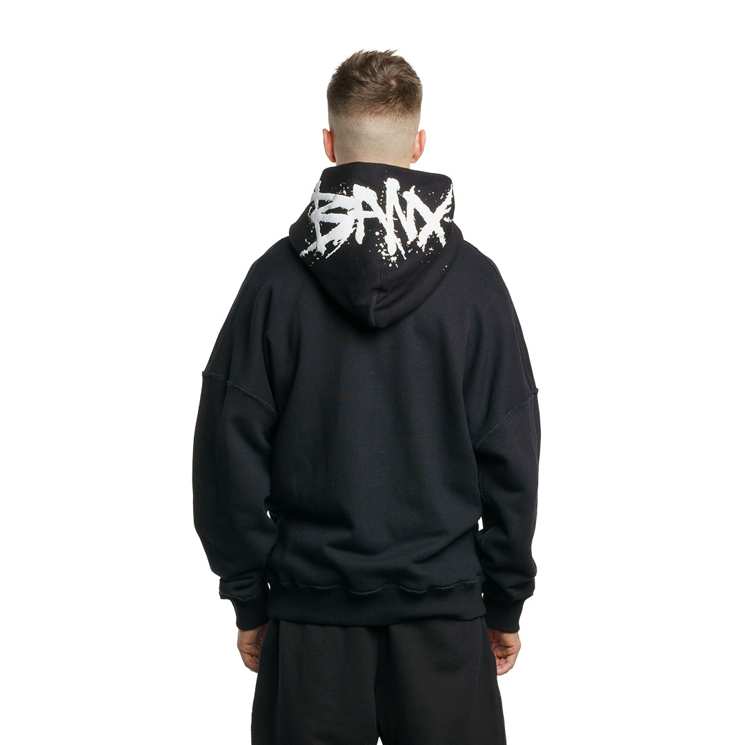 CHARGED Oversized Hoodie - Black (White Print)