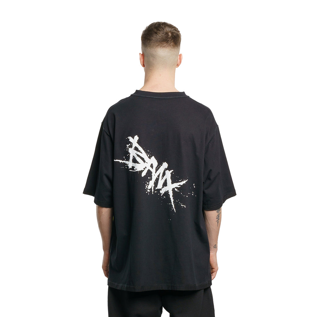 CHARGED Oversized Shirt - Black (White Print)