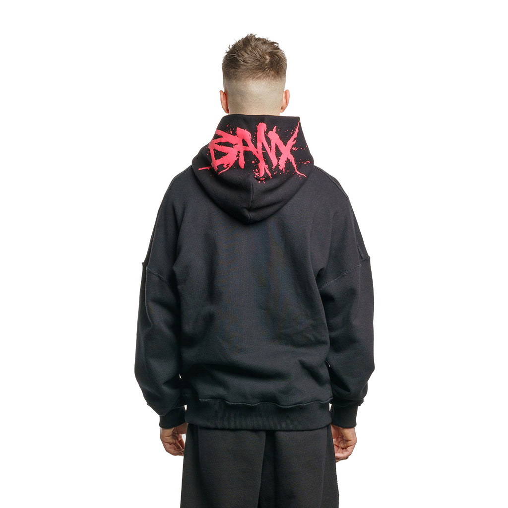 CHARGED Oversized Hoodie - Black (Red Print)